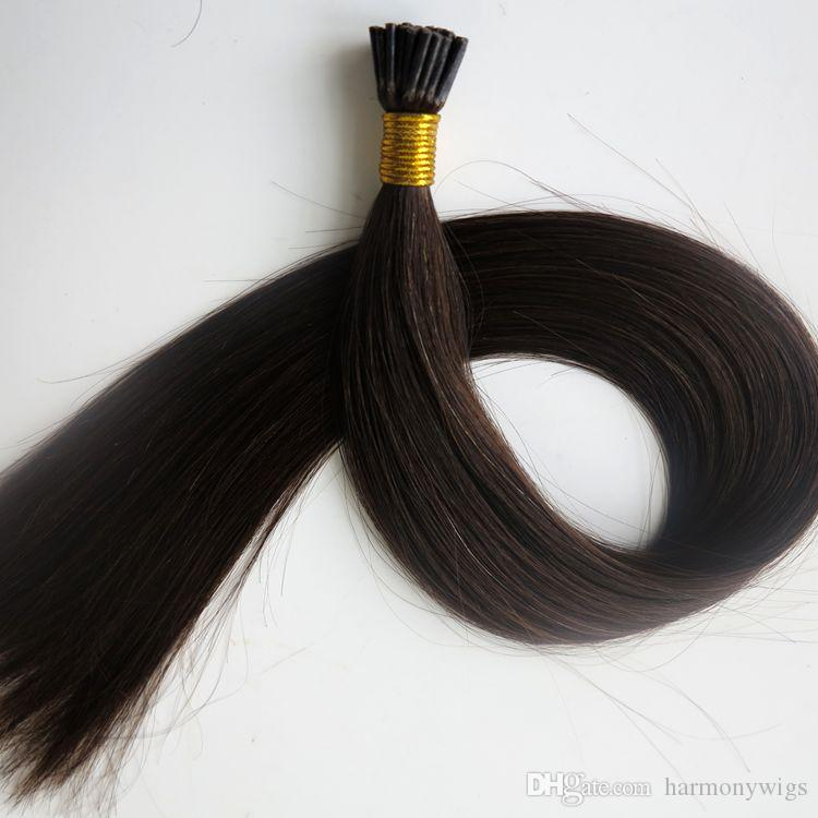 Pre bonded I Tip Brazilian human Hair Extensions 50g 50Strands 18 20 22 24inch #2/Darkest Brown Indian Hair products