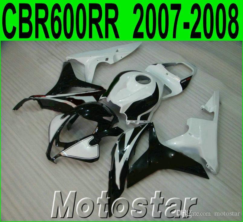 Injection molding motobike set for HONDA CBR600RR fairings 07 08 black white ABS fairing kit CBR 600RR F5 2007 2008 KQ65