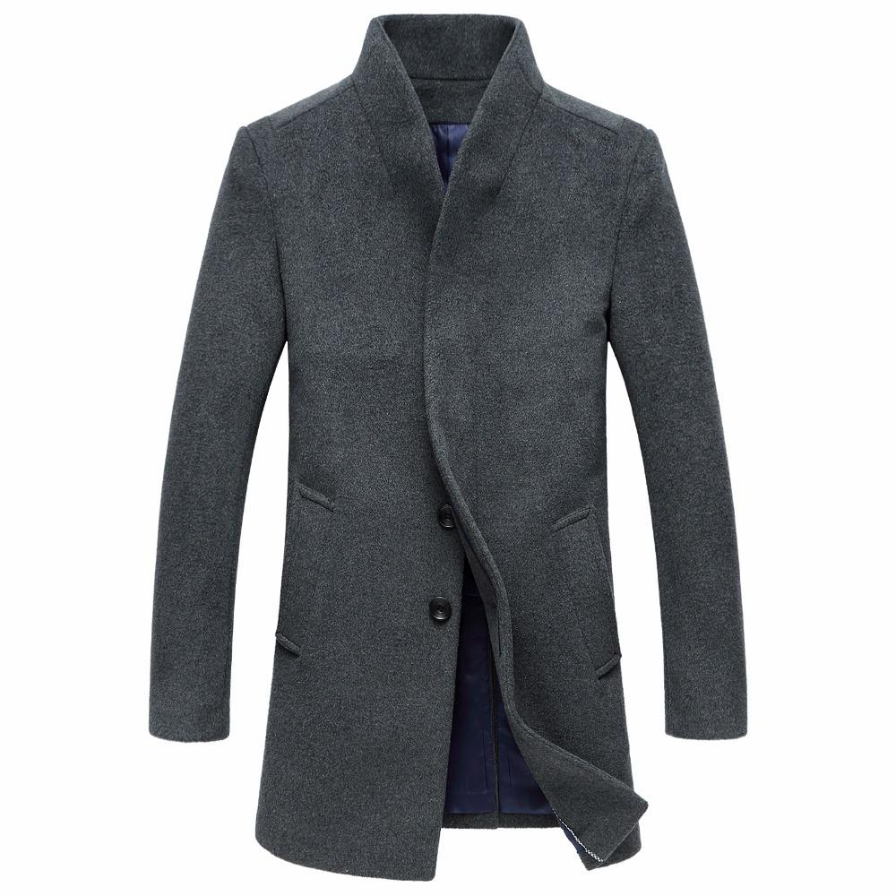 Abrigos de lana largos del estilo del invierno del vintage para los hombres Cubierto simple Botón más tamaño Abrigo Venta caliente Elegante Trench abrigos de negocios