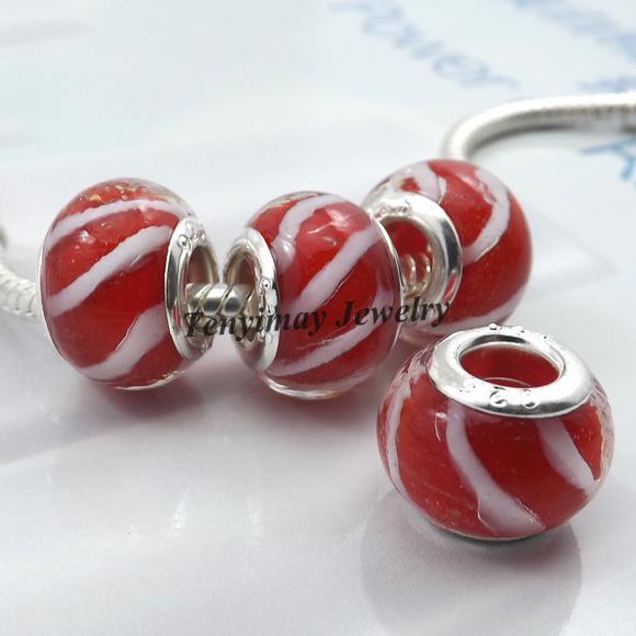 Murano Lampwork Glass Beads European Charm Beads Big Hole Beads para la pulsera de cadena de serpientes 100pcs / lote al por mayor LB818
