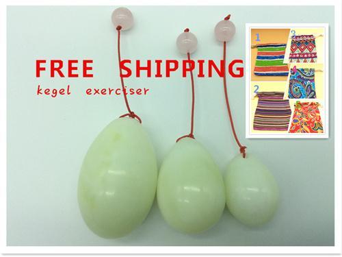큰 판매 무료 배송 천연 옥으로 만든 계란 Kegel 운동 3pcs 하나에 골반 바닥 근육을 설정 질 운동 구슬 달걀