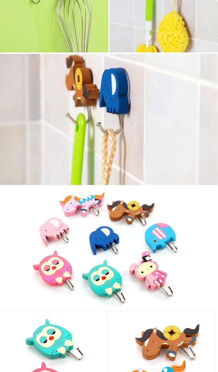 Decorative Bathroom Towel Hooks 2017 Cute Kids Wood Bath Towel Hookstrong Adhesive Bathroom Towel