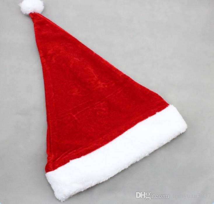 Hot! Father Christmas Hat Xmas Party Costume Santa Claus Adult Headgear Plush Cap Red TY1638
