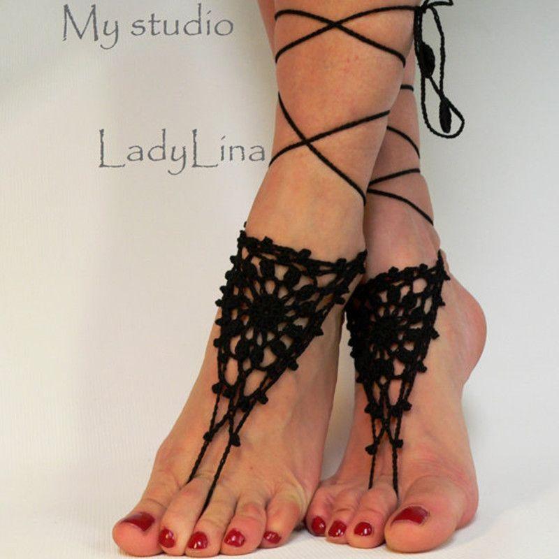 크로 셰 뜨개질 맨발 샌들, 여성 신발, 스팀 펑크, 빅토리아 레이스, 블랙 샌들, 비치 신발