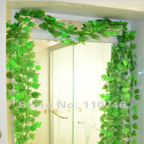 Beautiful Green Grape Leaves Vine 24 Piece/Lot, Ivy Simulation Plastic Flower Artificial Plants For Wedding Home Decor