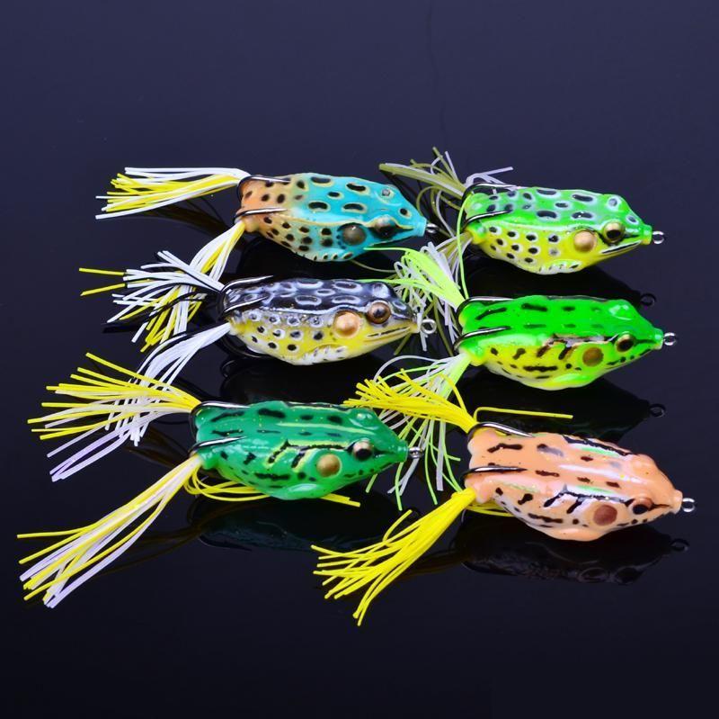Señuelo de Snakehead de la rana Artificial de la pesca de Topwater 5.5cm 12.5g Cebos de la forma de la rana suave Cebos de Crankbaits de agua dulce