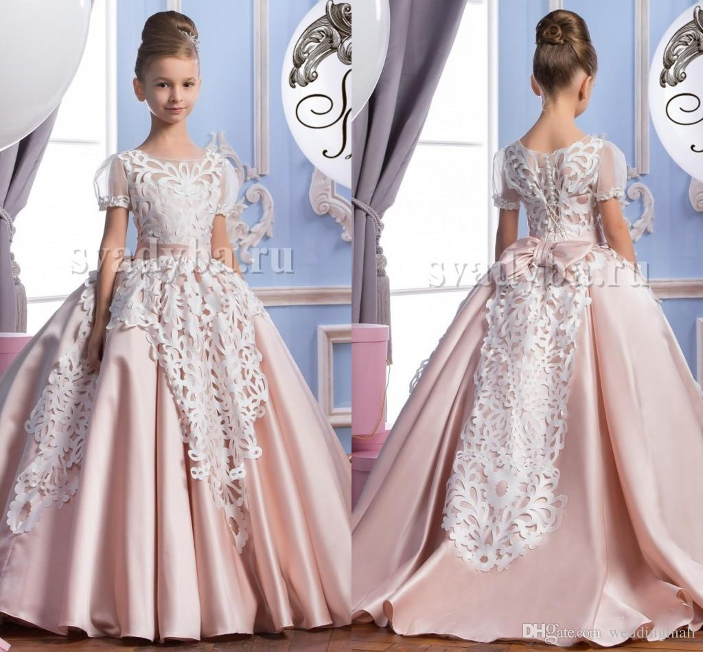 2016 lace short sleeves satin luxurious arabic flower girl dresses 2016 lace short sleeves satin luxurious arabic flower girl dresses vintage child pageant dresses beautiful flower girl wedding dresses f29 2018 from ombrellifo Choice Image
