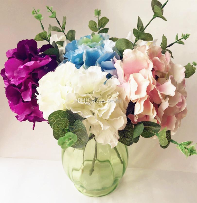 웨딩 꽃에 실크 수국 48pcs / lot 인공 단일 수국 크림 / 핑크 / 블루 / 그린 컬러