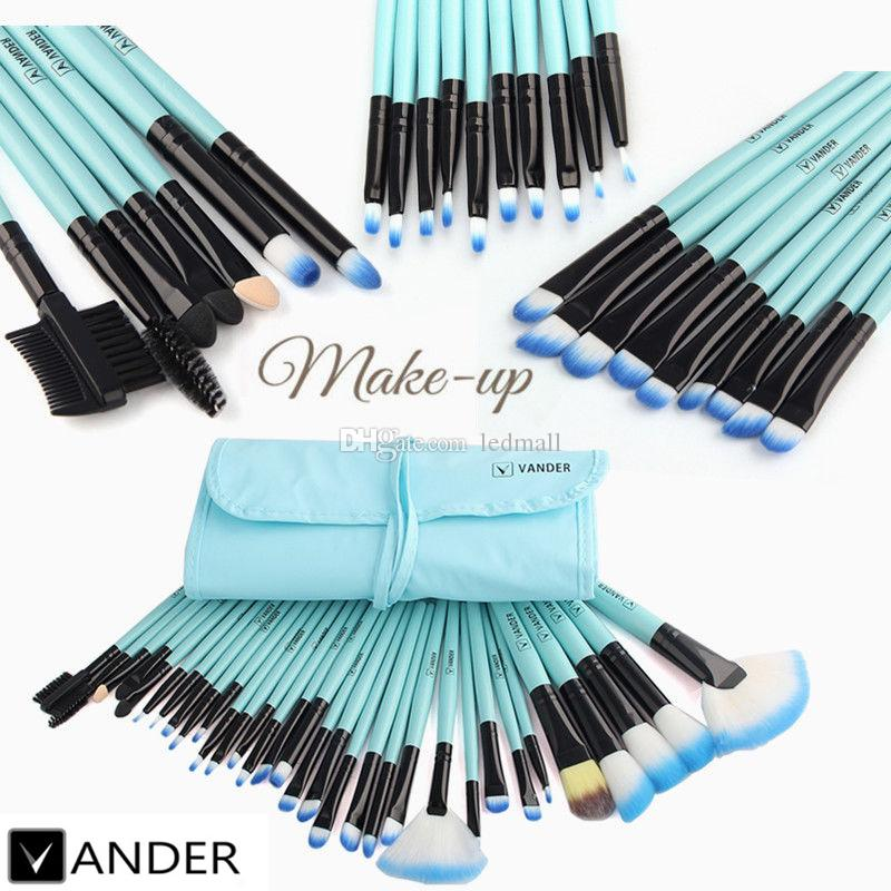 Vander 32pcs Professional Soft Cosmetic Eyebrow Shadow Makeup Brush Set Kit Lip Liner Brushes + Pouch Case USA Stock Free Shipping