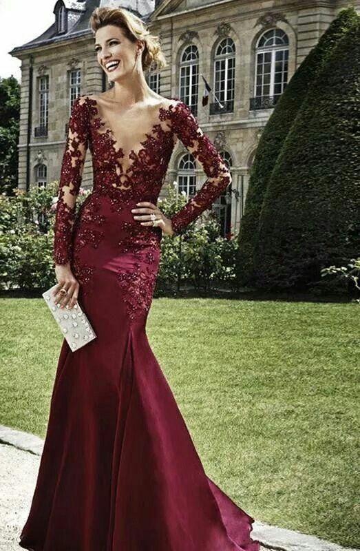 2015 Burgundy Mermaid Evening Dresses Long Sleeve Floor Length Appliques Beading Prom Gowns Sheer Satin Red Carpet Arabian Dubai Dresses