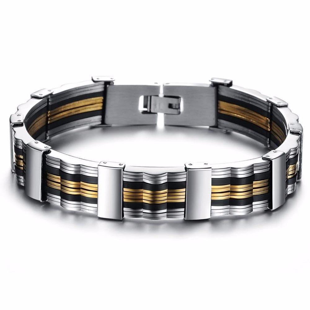 المجوهرات بالجملة سحر رجل هدية سيليكون الفولاذ المقاوم للصدأ سوار / الإسورة، طول 21.5 سم، لون فضي أسود