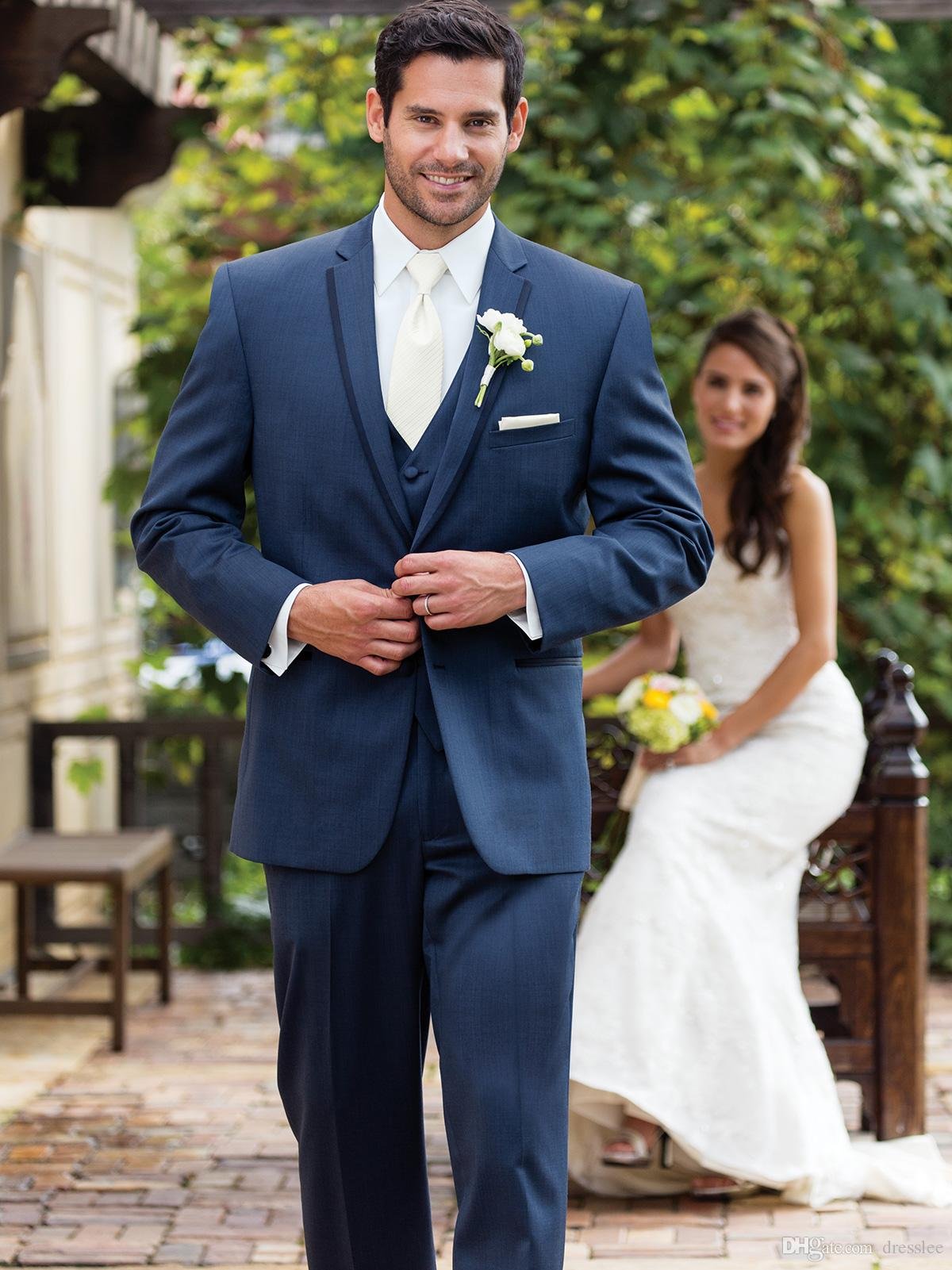 Cheap 2016 Custom Made Wear Navy Blue Suit Groom Tuxedos Grooms ...