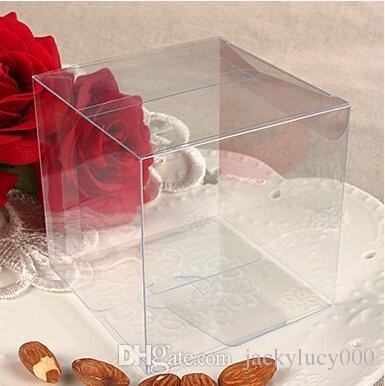 50 قطعة / الوحدة 8 * 8 * 8 سم العالمي مربع واضح pvc تغليف مربع البلاستيك الحاويات الفاكهة هدية مربع الحلوى الشوكولاته كعكة مربع شحن مجاني