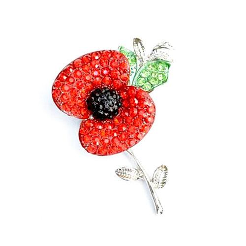 DHL FEDEX EMS EXPRESS FREE SHIPPING B728 Silver Tone Bright Red Austria Crystals Poppy Flower Pin Brooch Wholesale Poppy Brooches