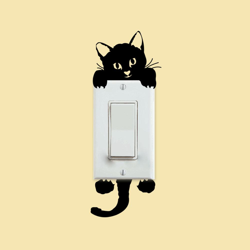 Black Cats Switch Stickers Funny Cool Lovely Kitten Wall Sticker ...
