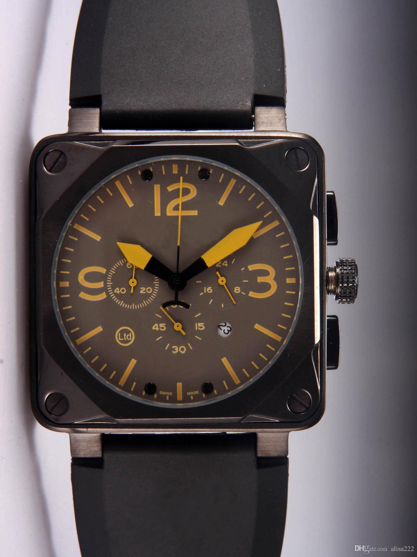 Homens de luxo Relógios de Quartzo Chronograph Melhor Marca de Borracha Preta Data Dia Quadrado Quadrado Do Vintage Suíço Casuais Mens Esporte Relógio de Pulso Caixa de Presentes