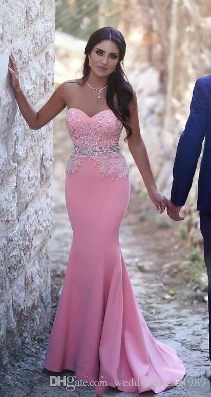 Compre Hermosos Vestidos De Noche De Sirena Rosa Con Cuentas De ...