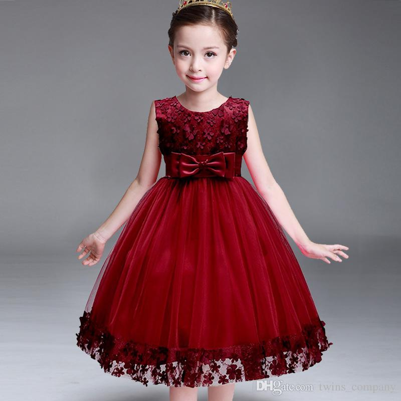 Compre Niños Niña Infante Flor Pétalos Vestido De Dama De Honor Niño Vestido Elegante Vestido Infantil Vestido De Fiesta Formal Vino Rojo A 1576 Del