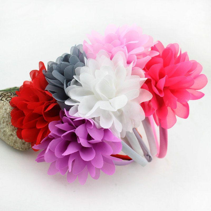 Baby Chiffon flower head Bands Children's hair accessories Baby Girls Big flower Hair hoop Princess headdress Infant Hairband Hair Accessory