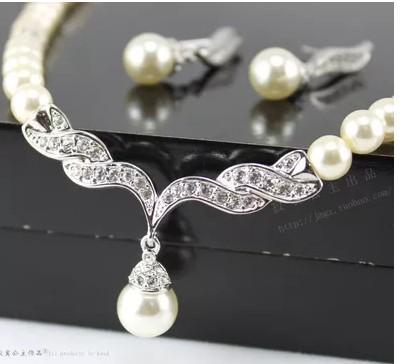magnifique collier de perles de cristal avec boucles d'oreilles (ming320)