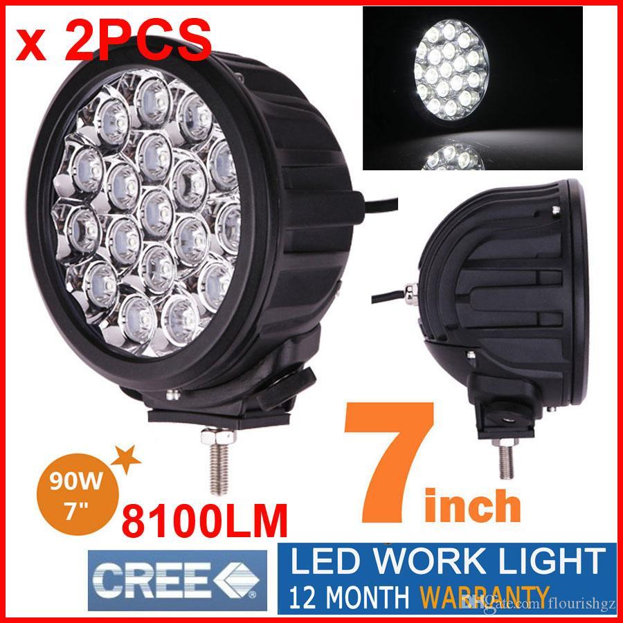 """2 sztuk 7 """"90 W CREE 18LED * 5W Jazdy Light Light Round Offroad SUV ATV 4WD 4x4 Spot / Wiązka powodziowa 8100LM 9-32V IP67 Heavy Duty Llamp Wymień HID"""