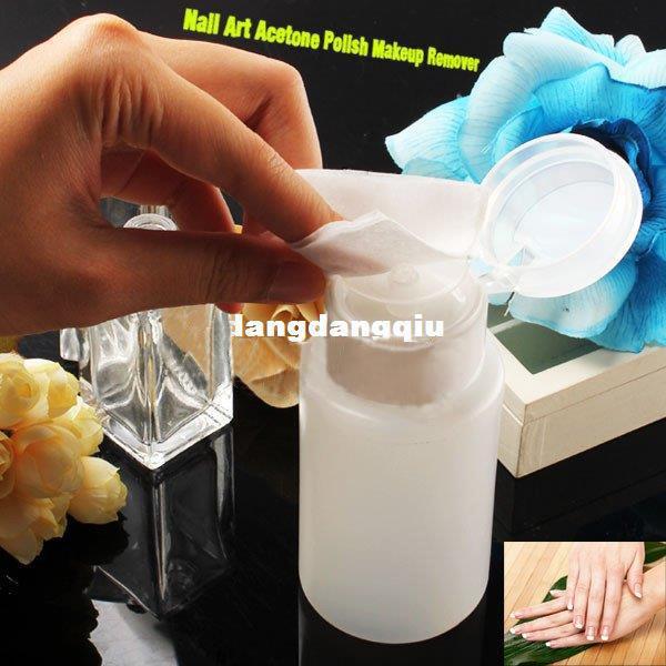 Partihandel-2 x Nail Art Pump Dispenser Polsk Remover Cleaner Tom Bottle Makeup Plastic407