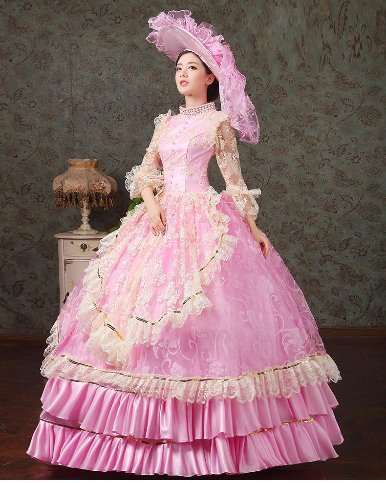 luxury lace pink embroidery beading collar medieval dress renaissance Gown queen Dress Victorian/Marie Antoinette/lolita Belle Ball gown