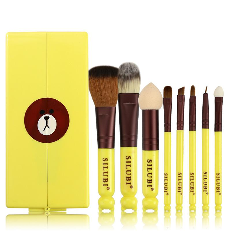 Koren Teen Girls Cute Bär Ente Silubi Make-up Pinsel Set Box 8 Stück Make-up Pinsel Set Makeup Tools Maquiagem mit Spiegel