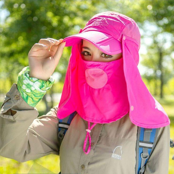 Açık Balıkçılık Bisiklet Şapka Spor Kapaklar Nefes UV Dayanıklı Headwears Kamp Orman Kap Visor Şal Maske Unisex Seyahat Malzemeleri SK409