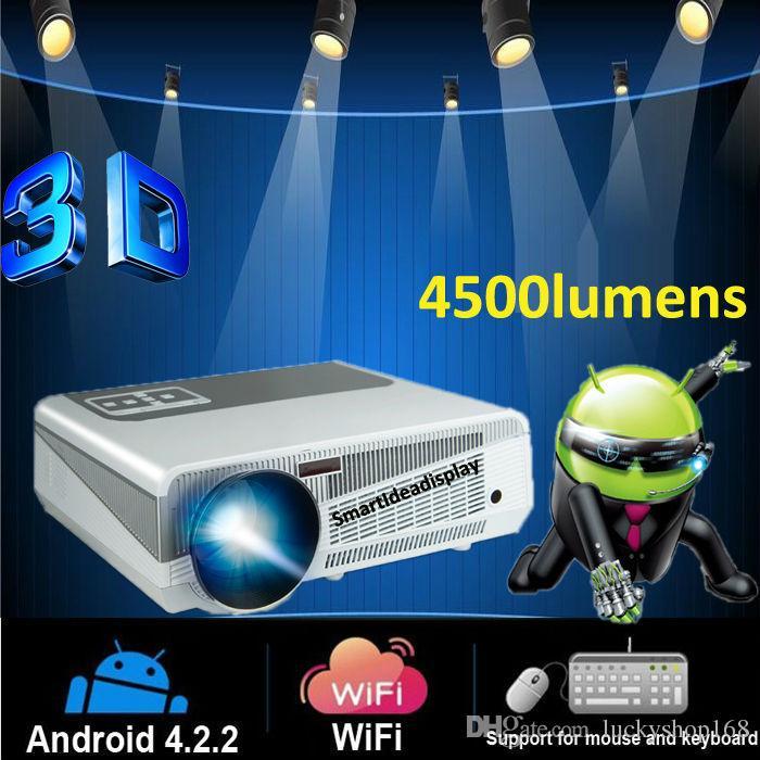 Proiettore gratuito Full HD Proyector 4500lumen Android 4.2 Wifi RJ45 LED Multimedia video Proiettore TV 3D 1280 * 800 per home theater