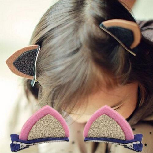 4шт новый Orecchiette лентой клипы Шпилька аксессуары для волос симпатичные стерео кошка уха клип Леопард