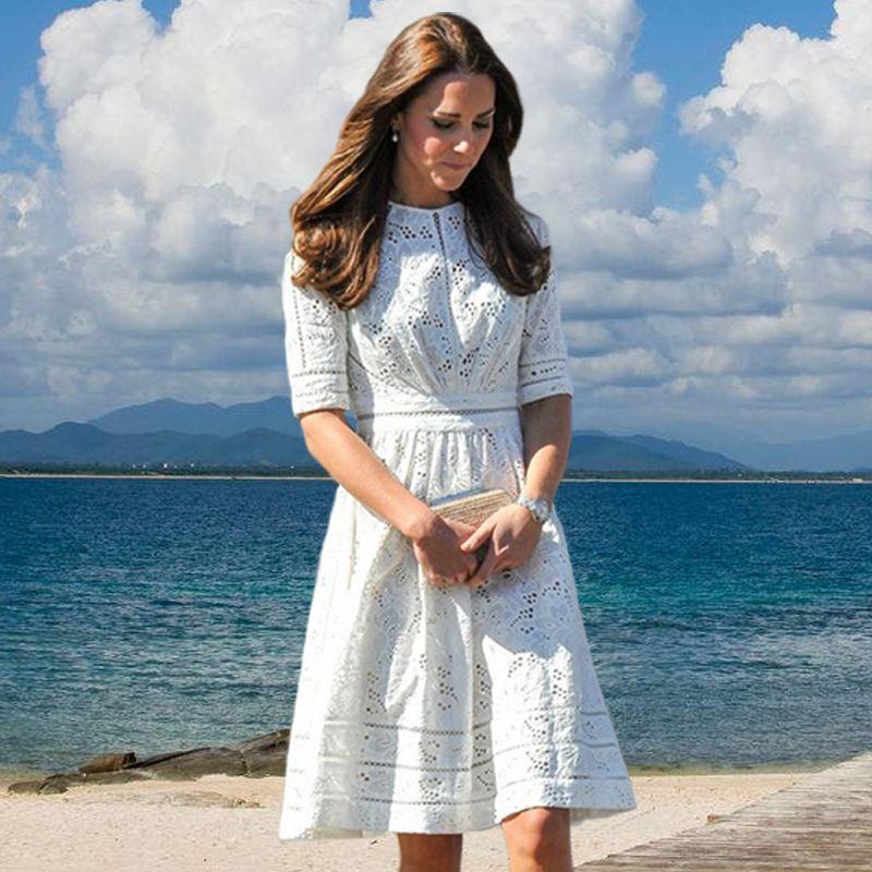 2018 New Classic Women Dress Hot Sale Princess Kate Dresses White ...