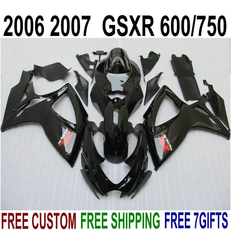 Freeship Kit de Feira Plástico para Suzuki GSXR 600 GSXR 750 06 07 K6 Todas as feiras pretas brilhantes definir GSX-R600 / 750 2006 2007 V39F