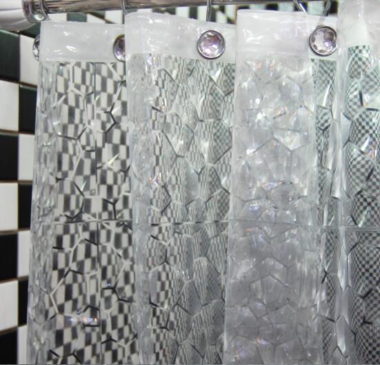 Efeito de Água 3D Cubo Design banho impermeável Cortina de Chuveiro EVA Prevenir mofo Cortinas Casa de Banho Em Casa