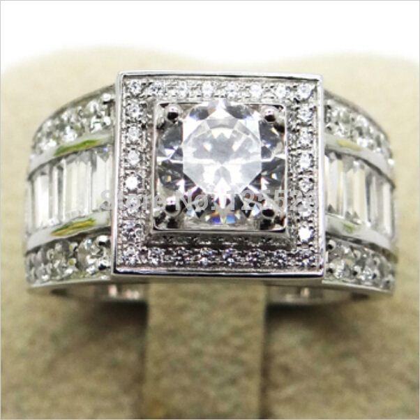 001 Victoria Wieck Sz 7-13 Asil Mücevherat Erkekler Topaz Simüle elmas 10KT Beyaz Altın Dolu Düğün Band Yüzük Hediye ücretsiz kargo