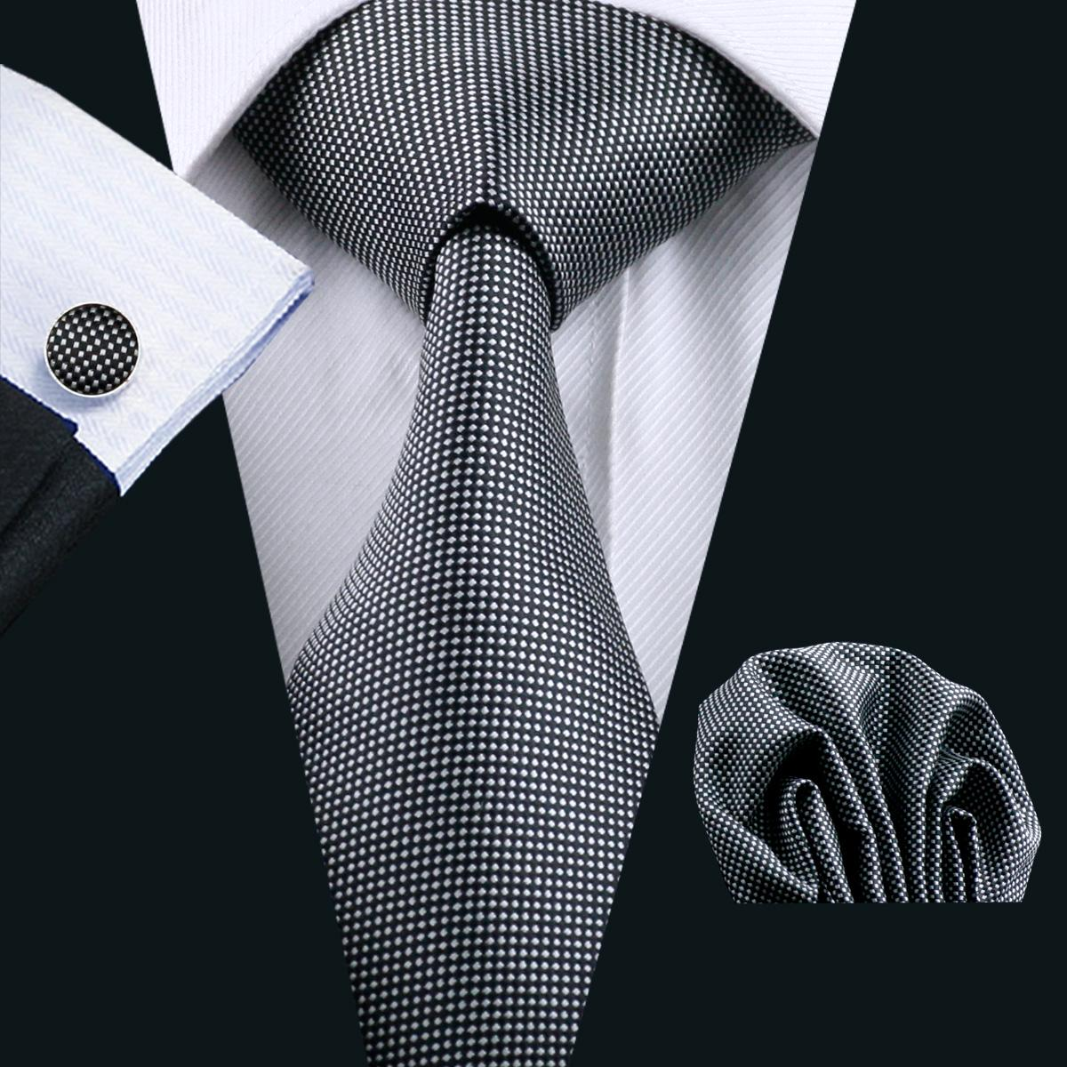클래식 블랙 망 타이 Hankerchief 커프스 단추 세트 자카드 짠 망 넥타이 세트 비즈니스 작업 정식 회의 레저 N-0924