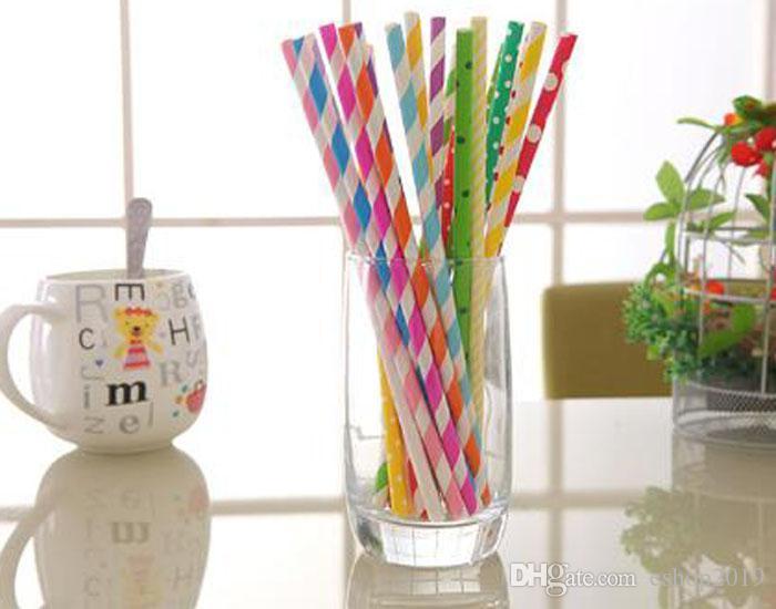 25 pçs / pacote colorido padrões Chevron tarja palhas de papel Eco Friendly canudos de papel para fontes do casamento de beber