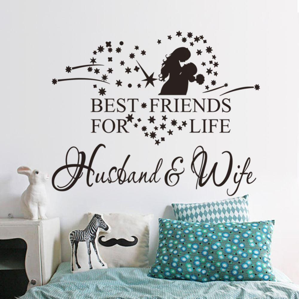 Husbandu0026Wife Wall Sticker Quotes Vinyl Wall Decal Home Decor 8385 Remonable  Wallpaper Wedding Decoration Vinyl Wall Quotes