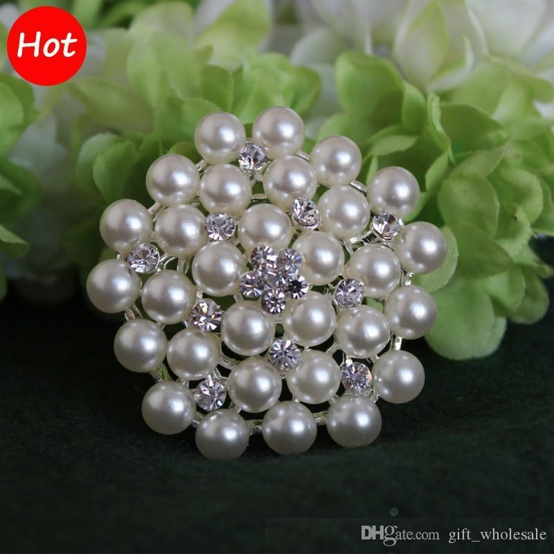 2 Inch/4.6cm Silver Tone Cream and White Pearl and Rhinestone Crystal Brooch 2 colors for choices