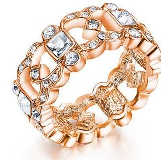 or * argent incrusté diamant bague de dame taille ouverte (yt-jd) fgfd
