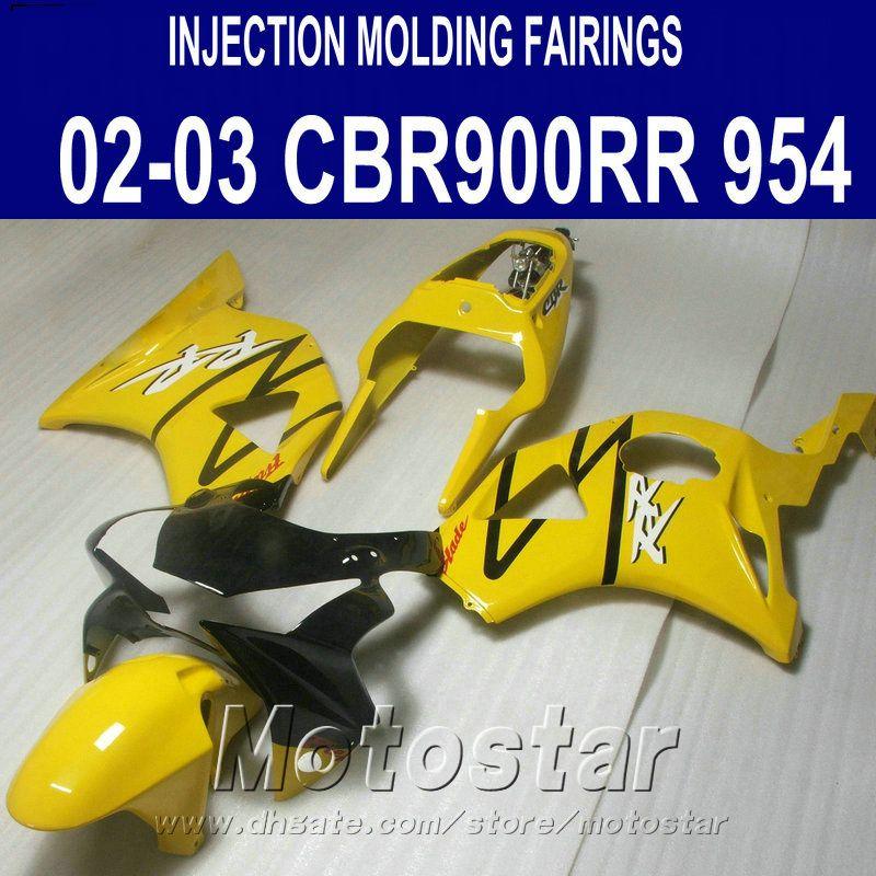 Injection molding High quality fairing kit for Honda cbr900rr fairings 954 2002 2003 CBR900 RR yellow black bodykits CBR954 02 03 YR9