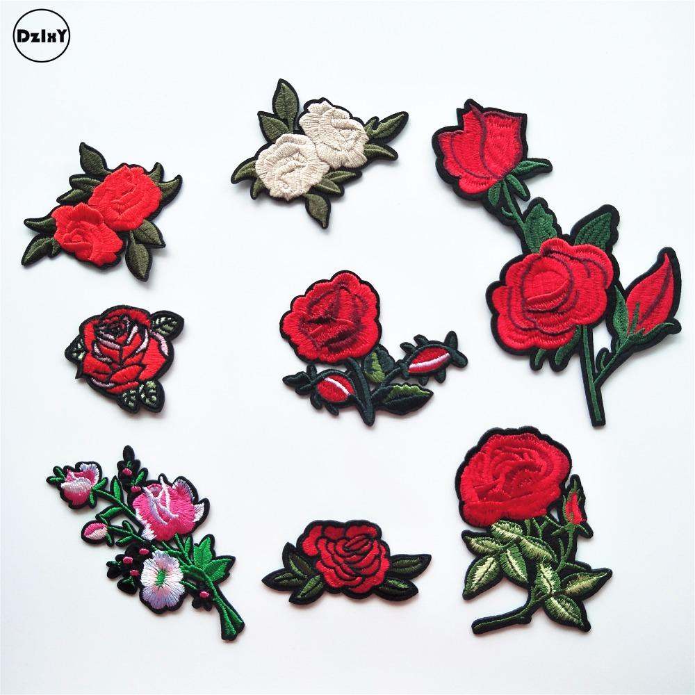 10 Pcs/lot Roses Flowers Parches Embroidered Iron on Patches for Clothing Diy Motif Stripes Clothes Stickers Custom Badges