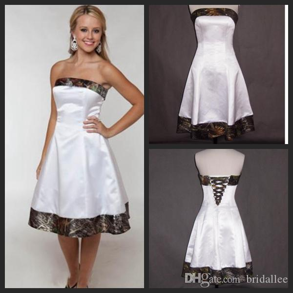 Короткие Камуфляж Свадебные Платья 2016 Без Бретелек Длиной До Колен Дешевые Свадебные Платья Линии Белый Атлас