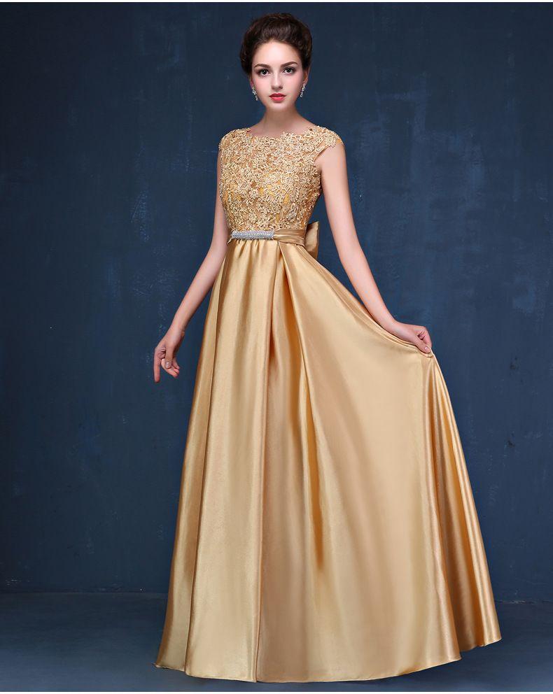 Modelos De Vestido Para Noite Ouro Cetim Vestidos Longos Com Laço Apliques 2020 New Vestido De Festa Vestidos De Noite Elegantes Transporte Rápido