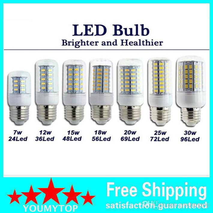 SMD 5730 E27 Светодиодная лампа 7W 12W 15W 18W 20W 25W 30W 5730SMD Светодиодная лампа Corn Led Лампа накаливания