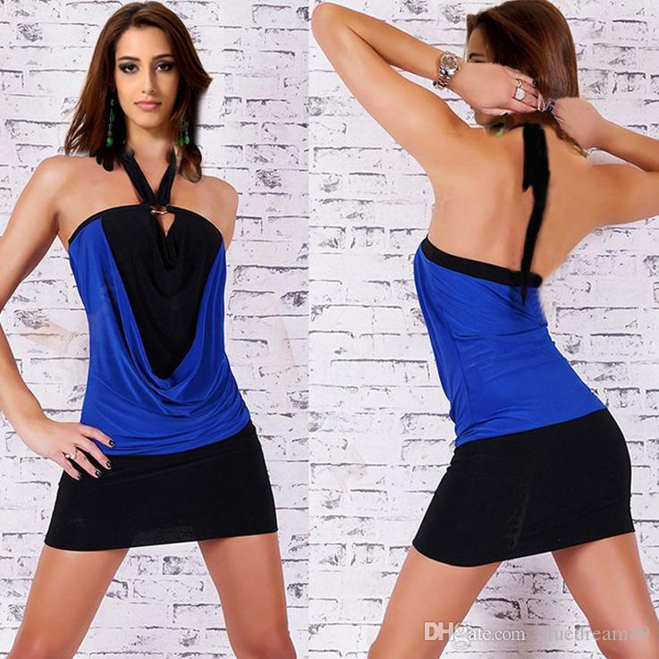 여자 반바지 플러스 사이즈 여름 드레스 여자 나이트 클럽 파티 싼 무도회 여성 드레스 패션 섹시한 고삐 스트랩 블루 드레스 여성을위한
