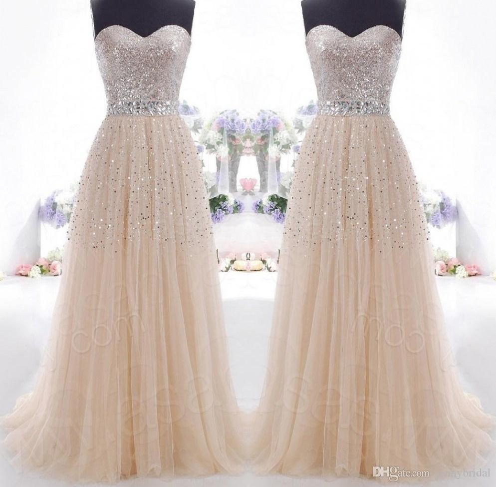 Ready To Ship In Stock Long Prom Dresses Under 100 2015 Champagne
