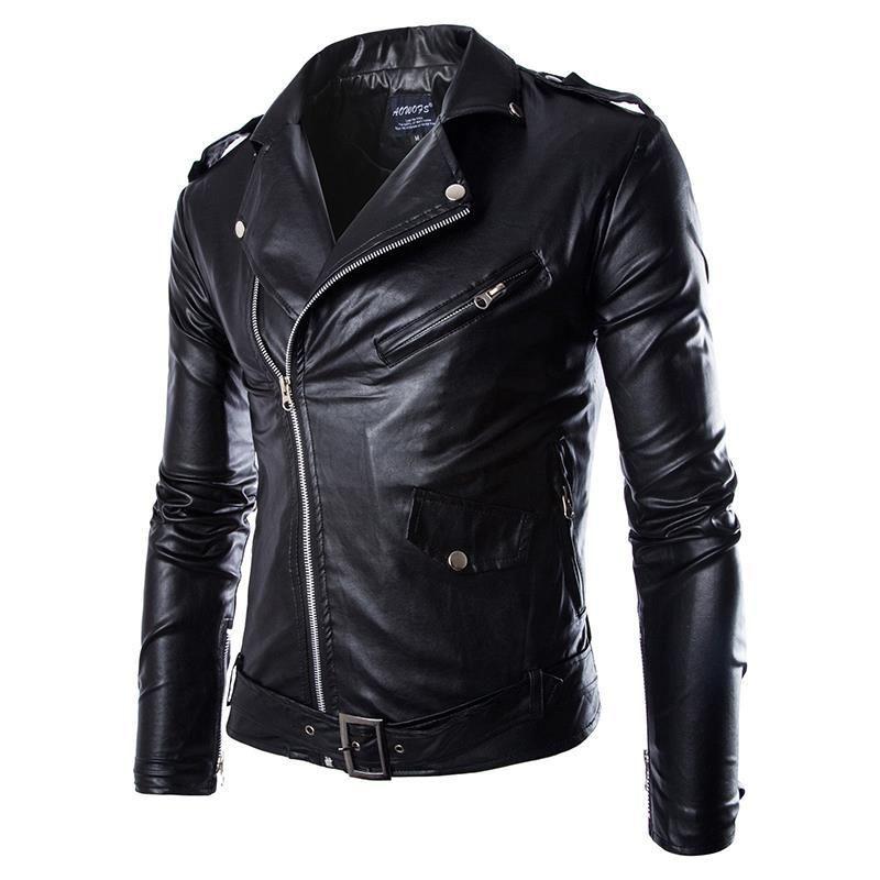 Hommes Mode PU Cuir Veste Spring Automne Nouveau Britannique Style Hommes Cuir Veste Moto Manteau Black Marron M-3XL
