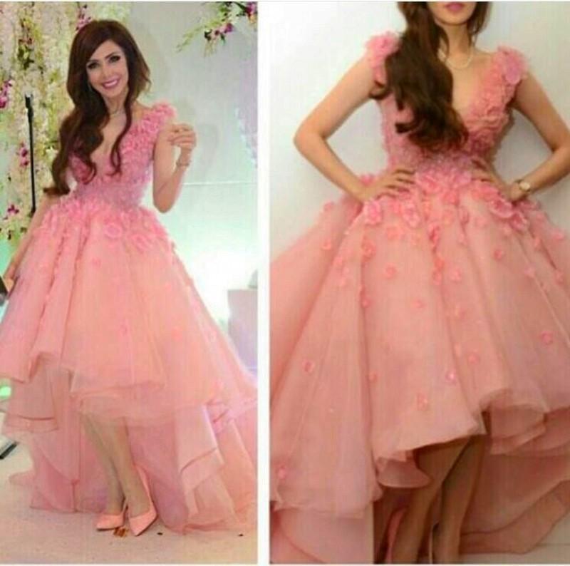 2016 SPring Pink Evening Dresses 사우디 아라비아 하이 로우 볼 가운 V 넥 섹시한 파티 드레스 아플리케 Arabic Dubai Prom Gowns