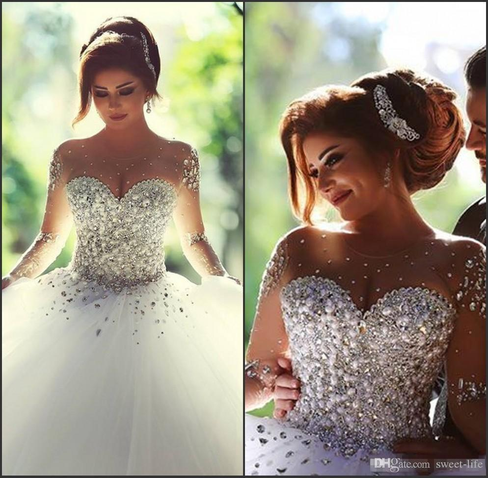 2020 Long Sleeves Wedding Dresses Rhinestones Bridal Dress Crystals Illusion Bride Gowns Backless Ball Gown Formal Party Dress